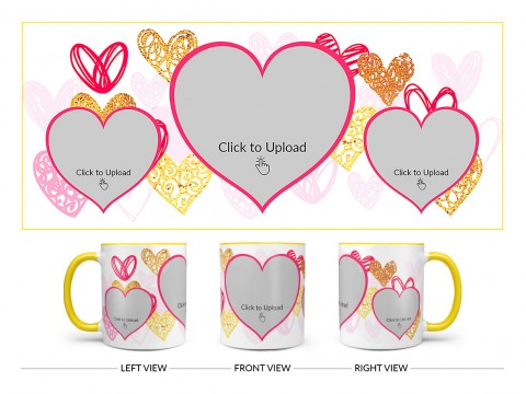 3 Heart Symbols Pic Upload With Golden Love Symbols Background Design On Dual Tone Yellow Mug