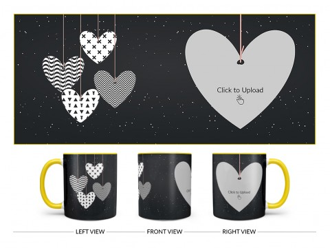 Heart Symbols Hanging In The Sky With Stars Background Design On Dual Tone Yellow Mug