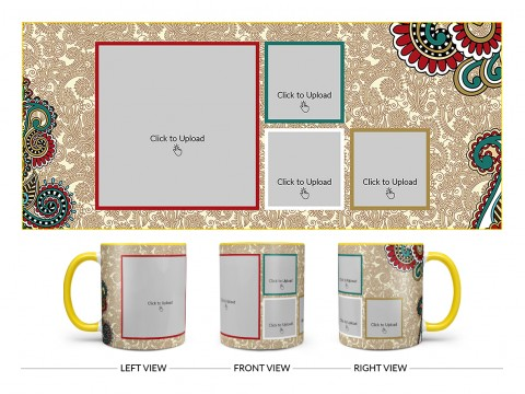 Traditional Background With 4 Pic Upload Design On Dual Tone Yellow Mug