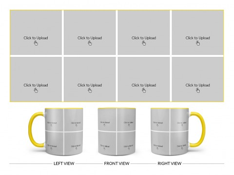 8 Pic Upload Design For Any Occasions & Event Design On Dual Tone Yellow Mug