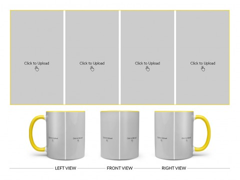 4 Vertical Pic Upload Design For Any Occasions & Event Design On Dual Tone Yellow Mug