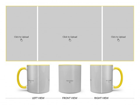 3 Vertical Pic Upload Design For Any Occasions & Event Design On Dual Tone Yellow Mug