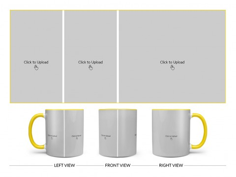 3 Pic Upload Design For Any Occasions & Event Design On Dual Tone Yellow Mug