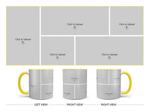 5 Pic Upload Design For Any Occasions & Event Design On Dual Tone Yellow Mug