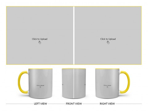 2 Large Pic Upload Design For Any Occasions & Event Design On Dual Tone Yellow Mug