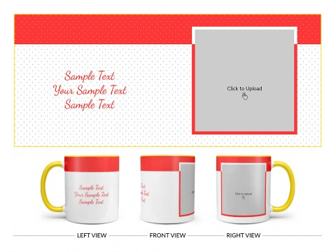 Dotted Pattern Background With Red border Design On Dual Tone Yellow Mug