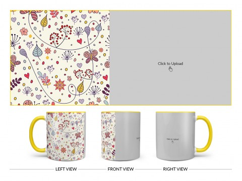Multiple Trees, Flower & Butterfly's Pattern Background Design On Dual Tone Yellow Mug