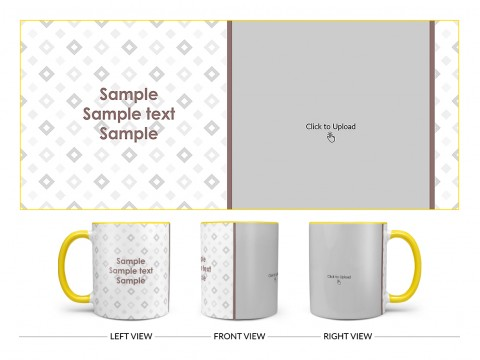 Tilted Square Pattern Background Design On Dual Tone Yellow Mug