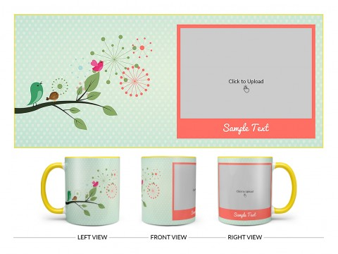 Birds On Tree Branch With Light Green Love Symbols Background Design On Dual Tone Yellow Mug