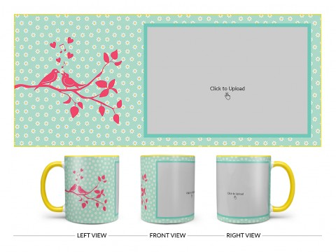 Love Birds Singing On Tree Branch With Sunflower Pattern Background Design On Dual Tone Yellow Mug