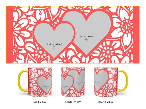 Flower Pattern Background With 2 Love Symbol Pic Upload Design On Dual Tone Yellow Mug