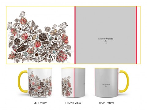Artisic Design On Dual Tone Yellow Mug