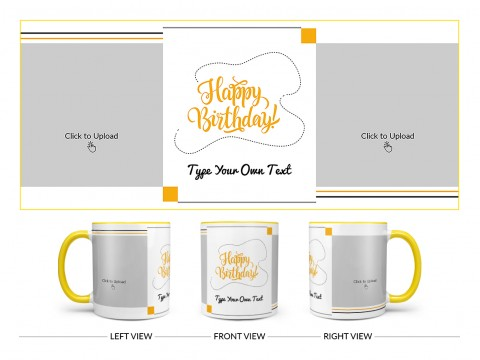 Boy Friend Birthday With 2 Square Pic Upload Design On Dual Tone Yellow Mug