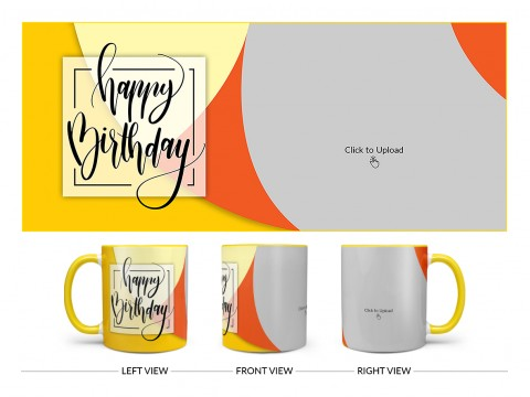 Boy Friend Birthday Orange And Yellow Waves Design On Dual Tone Yellow Mug