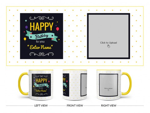 Boy Friend Birthday Yellow Dots Background Design On Dual Tone Yellow Mug