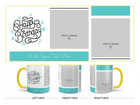 Boy Friend Birthday 2 Pic Upload Design On Dual Tone Yellow Mug