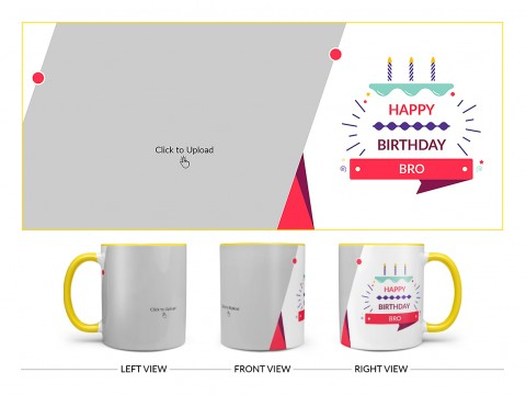 Brother's Birthday With White Background Design On Dual Tone Yellow Mug