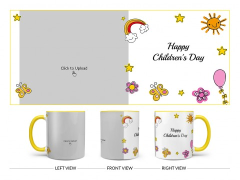 Childrens Day With Cartoon Objects Design On Dual Tone Yellow Mug