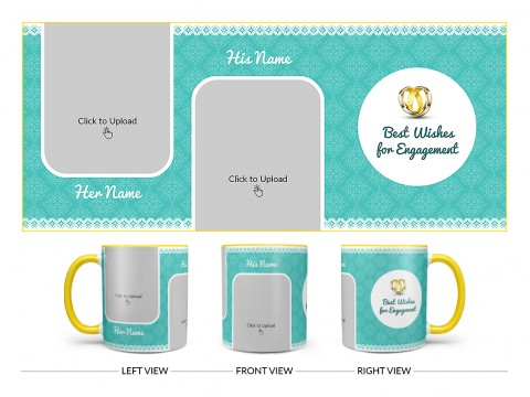 Best Wishes For Engagement With Couple Pic Upload Design On Dual Tone Yellow Mug