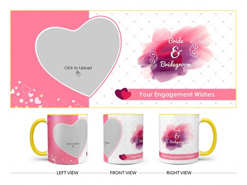 Bride & Bridegroom With Love Shape Pic Upload Design On Dual Tone Yellow Mug