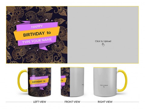 Happy Birthday With Gold Floral Background Design On Dual Tone Yellow Mug