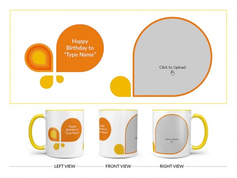 Happy Birthday Design On Dual Tone Yellow Mug