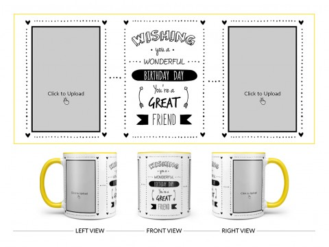 Wishing You A Wonderful Birthday Quote Design On Dual Tone Yellow Mug