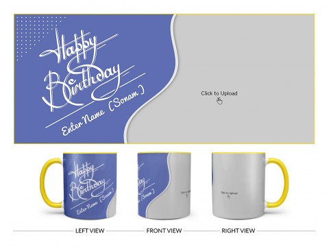 Blue Wave Design With Happy Birthday Text Design On Dual Tone Yellow Mug