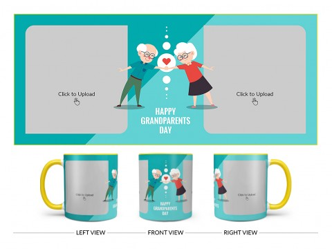 Grandparents Day With 2 Pic Upload Design On Dual Tone Yellow Mug