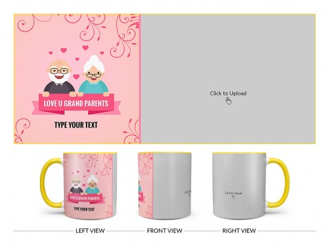 Grandparents Day With Large Pic Upload Design On Dual Tone Yellow Mug