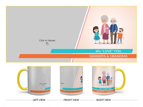 Grand Parents With Grand Children's Design On Dual Tone Yellow Mug