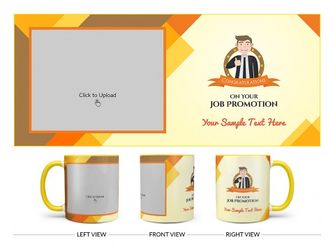 Congratulations For Your Job Promotion Design On Dual Tone Yellow Mug