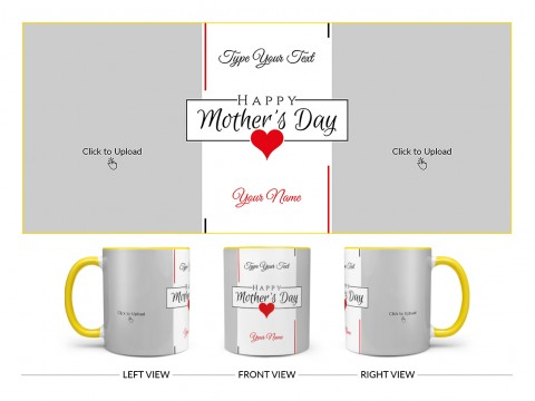 Happy Mother's Day With 2 Pic Upload Design On Dual Tone Yellow Mug