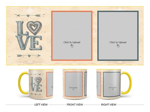 Vintage Background With Love Text Design On Dual Tone Yellow Mug