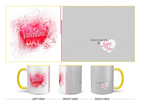 Happy Valentine's Day Design On Dual Tone Yellow Mug