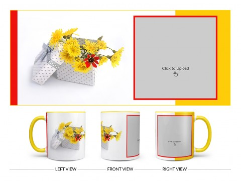 Yellow Color Flowers in Basket Design On Dual Tone Yellow Mug