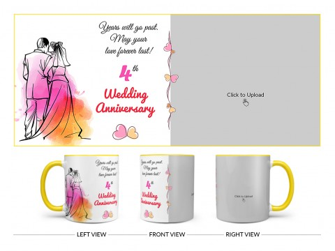 Wedding Anniversary Design On Dual Tone Yellow Mug