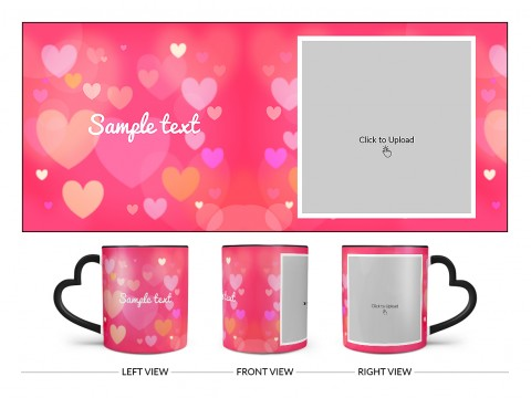 Heart Symbols With Dark Pink Background Design On Love Handle Dual Tone Black Mug