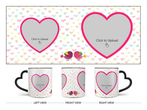 Love Symbol Pattern Background With 2 Heart Shape Pic Upload Upload Design On Love Handle Dual Tone Black Mug