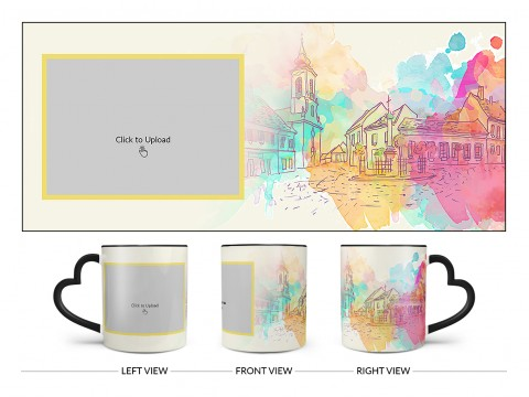 Artistic City Painting Background Design On Love Handle Dual Tone Black Mug
