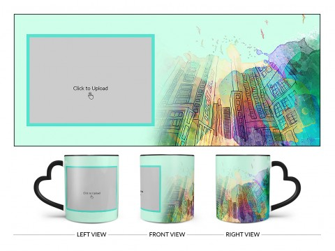 Artistic Building Painting Background Design On Love Handle Dual Tone Black Mug