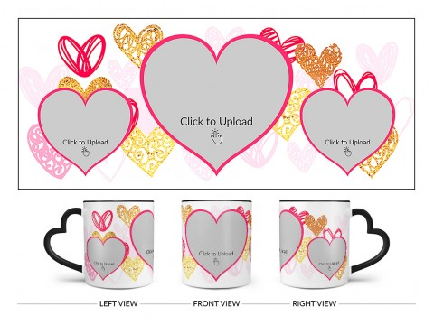 3 Heart Symbols Pic Upload With Golden Love Symbols Background Design On Love Handle Dual Tone Black Mug