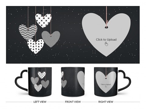 Heart Symbols Hanging In The Sky With Stars Background Design On Love Handle Dual Tone Black Mug