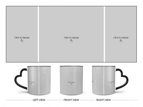 3 Vertical Pic Upload Design For Any Occasions & Event Design On Love Handle Dual Tone Black Mug