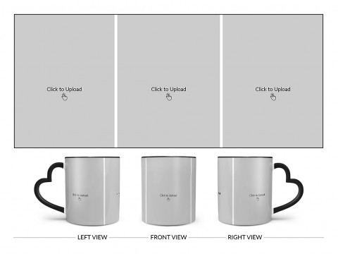 3 Equal Pic Upload Design For Any Occasions & Event Design On Love Handle Dual Tone Black Mug