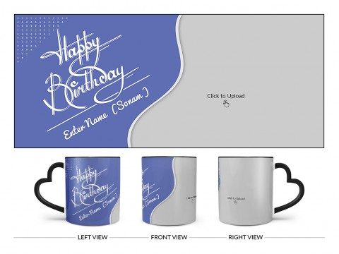 Blue Wave Design With Happy Birthday Text Design On Love Handle Dual Tone Black Mug