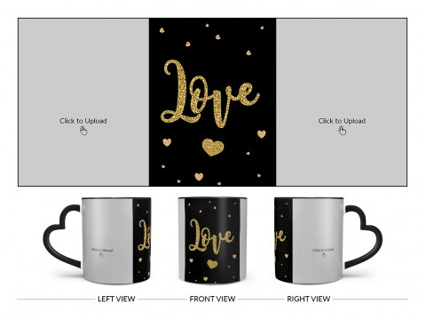 Gold Textured Love Design On Love Handle Dual Tone Black Mug