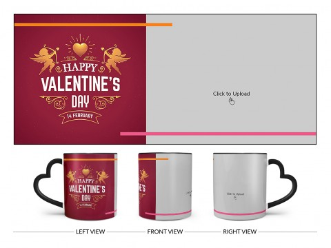 Happy Valentine's Day Design On Love Handle Dual Tone Black Mug