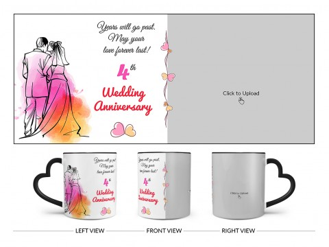 Wedding Anniversary Design On Love Handle Dual Tone Black Mug