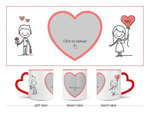 Boy Holding Flower And Girl Holding Balloon Design On Love Handle Dual Tone Red Mug